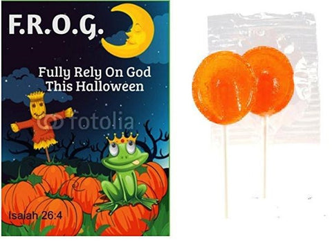 Fully Rely On God Halloween Bible Tracts With Orange Suckers (Pack of 25)
