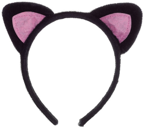 Black Cat Ears With Pink Headband For Costumes