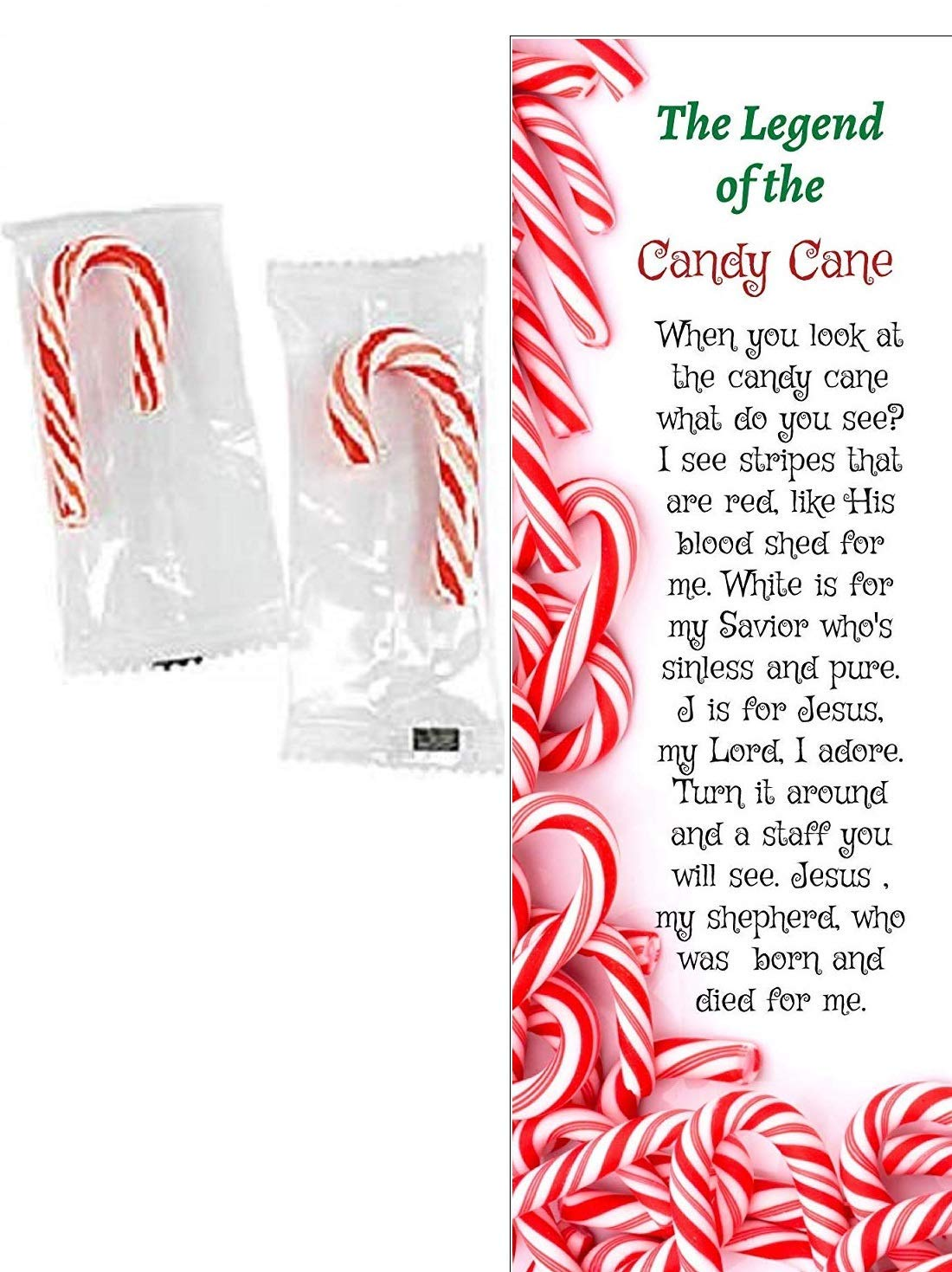 Legend Of The Candy Cane Christmas Bookmarks with Mini Candy Canes (100 Sets)
