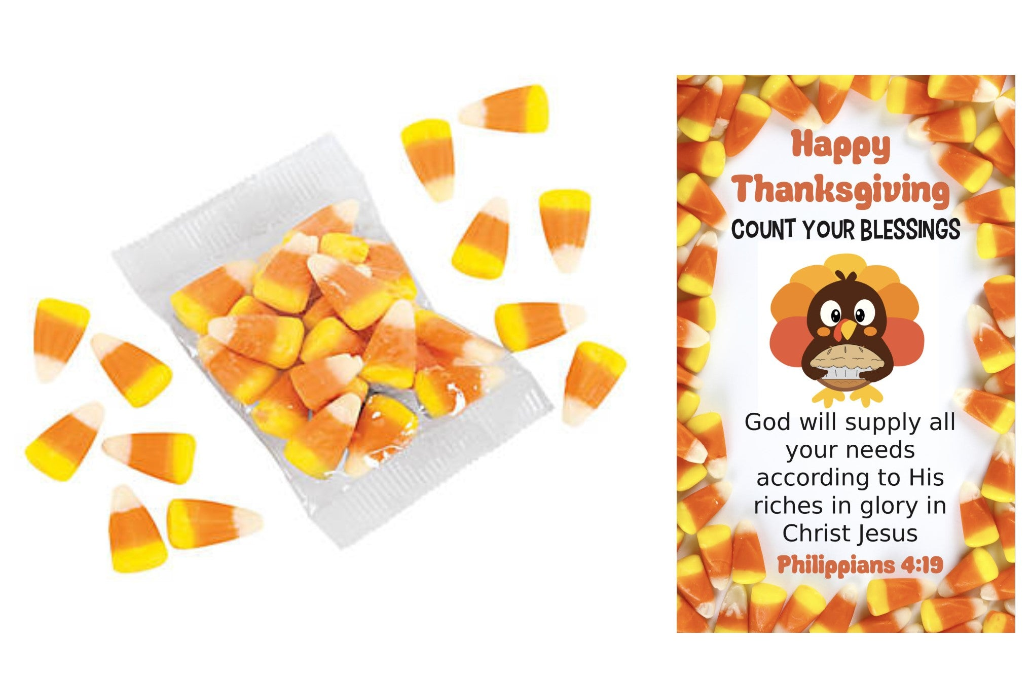Happy Thanksgiving Count Your Blessings Candy Corn with Turkey Card (24 Sets)