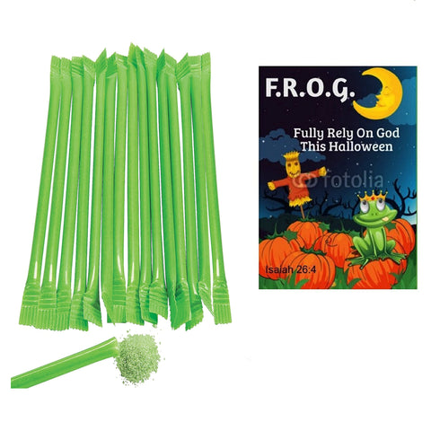 Frog Fully Rely On God Halloween Tracts With Candy Straws (100 Pack)