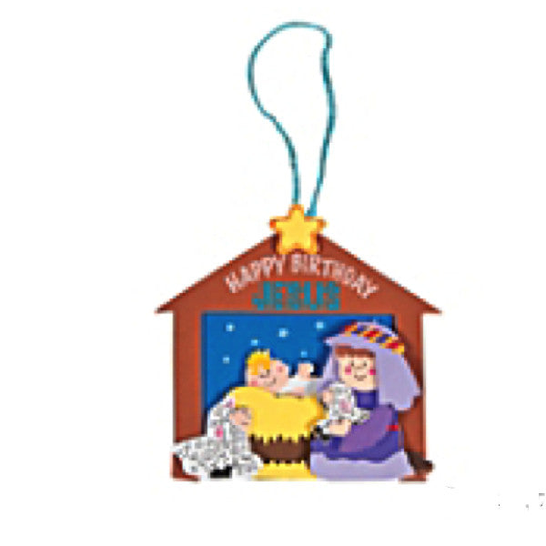 Happy Birthday Jesus Christmas Ornament Craft Kit  - Makes 12