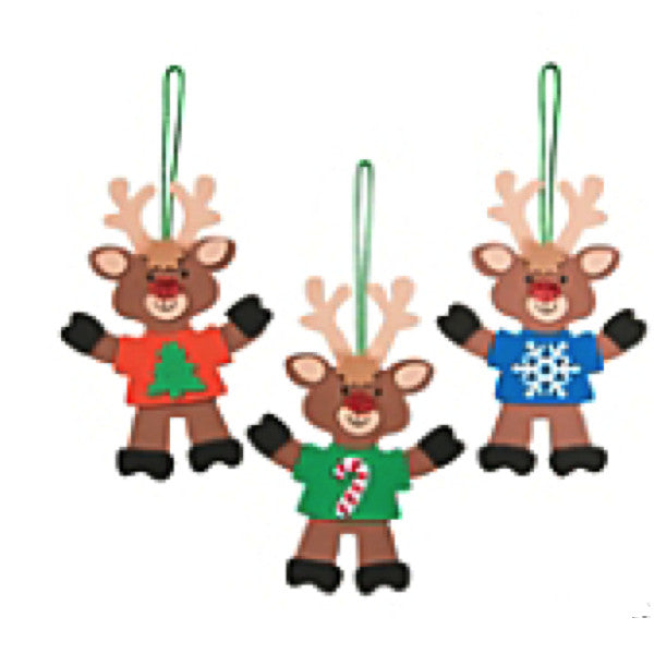 Reindeer with T-Shirt Ornament Craft Kit - Makes 12