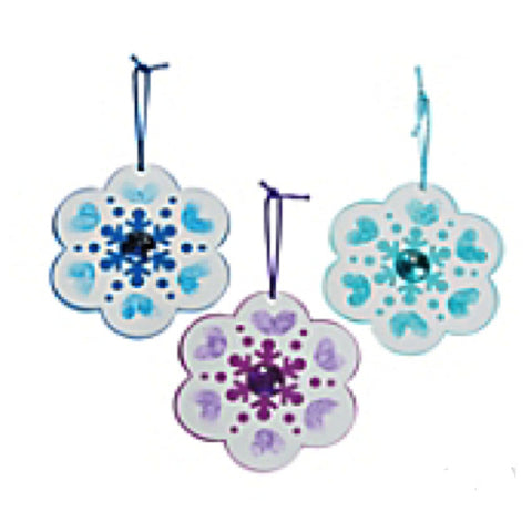 Thumbprint Snowflake Christmas Ornament Craft Kit - Makes 12