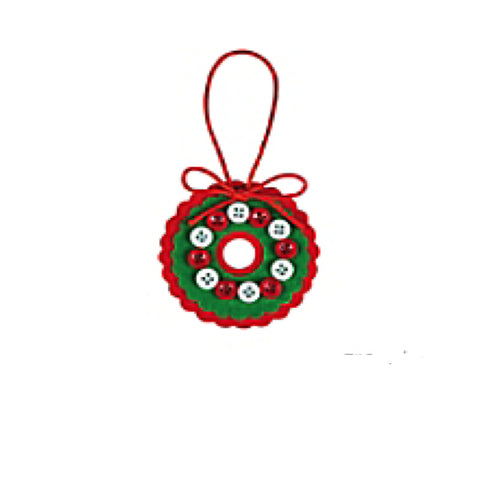 Button Wreath Christmas Ornament Craft Kit - Makes 12
