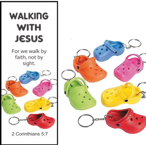 Walking With Jesus Bookmarks with Mini Rubber Slipper Shoe Clog Croc Key chains (12 Sets)