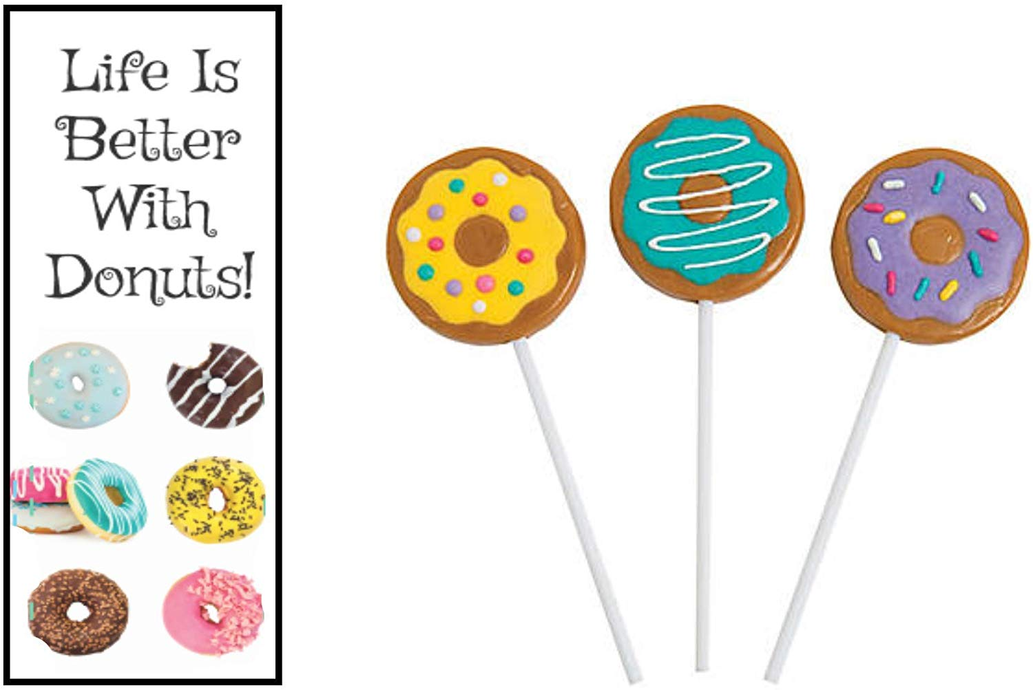 Life Is Better With Donuts Bookmarks and Donut Party Lollipops (12 Sets)
