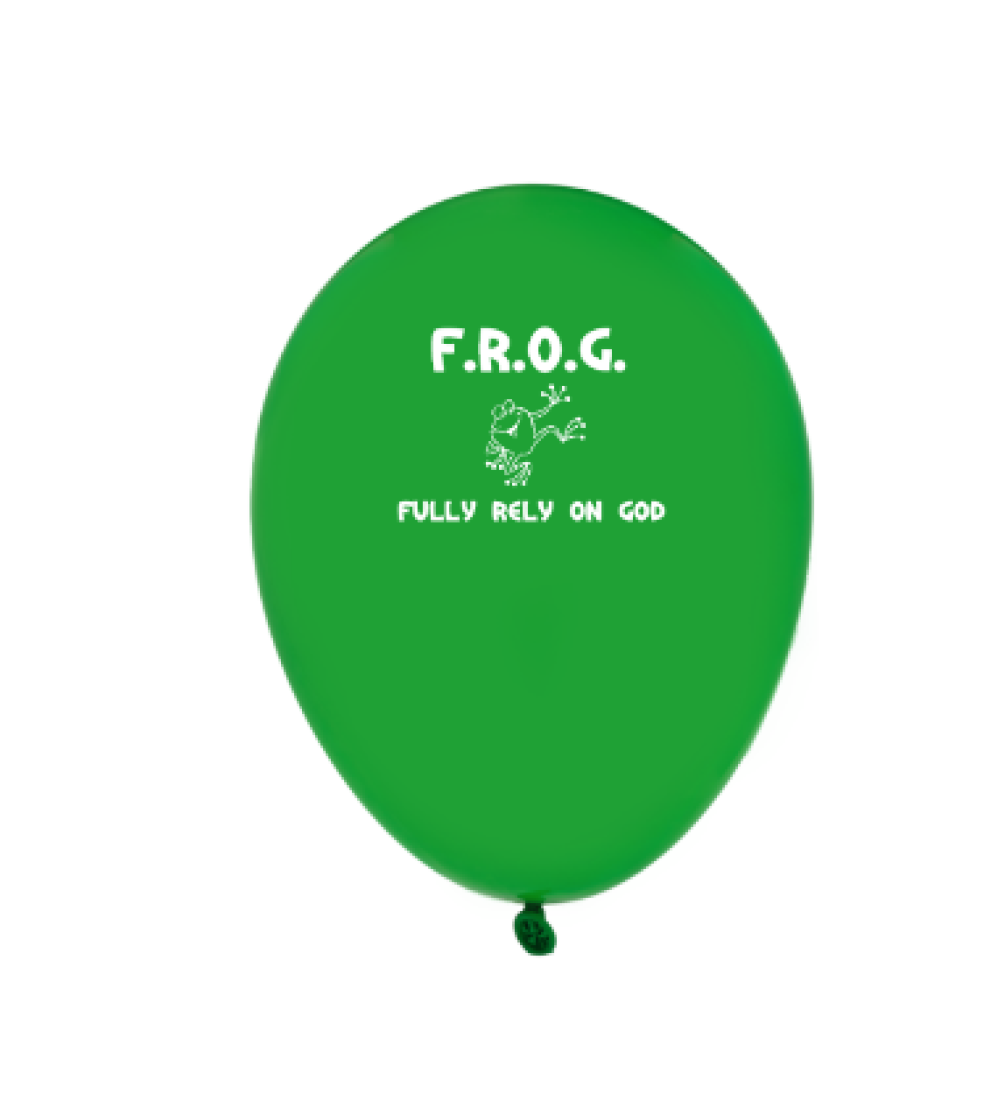 "Green Fully Rely On God 9"" Latex Frog Balloons (1000 Count) Bulk"