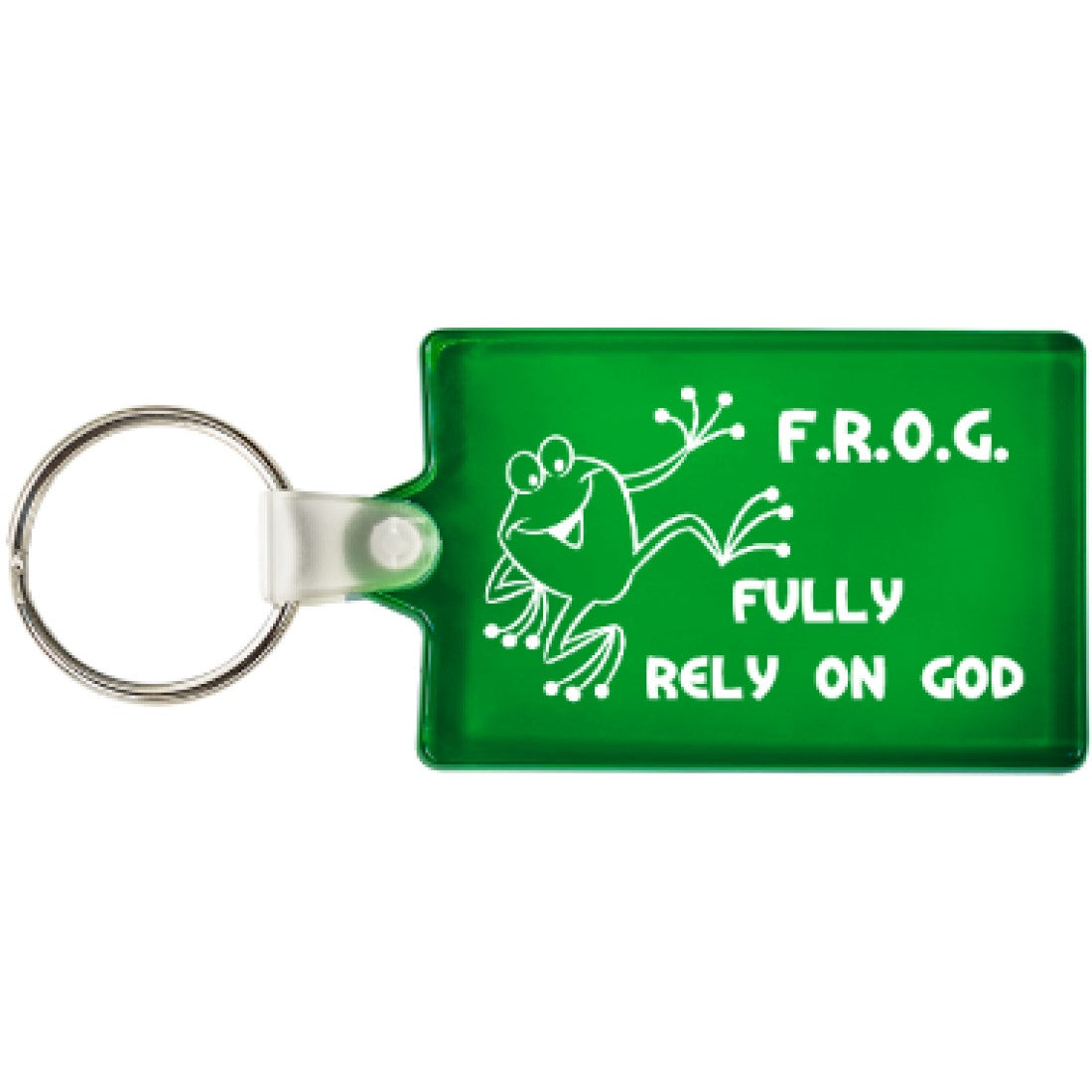 Green Fully Rely On God Soft Plastic Frog Keychains (100 Count) Bulk