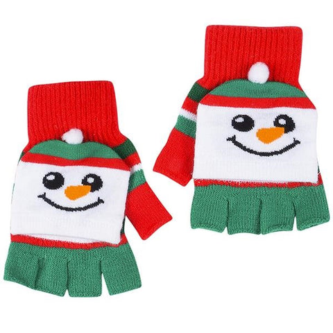 Snowman Kids Fingerless Gloves Mittens (4 pairs)
