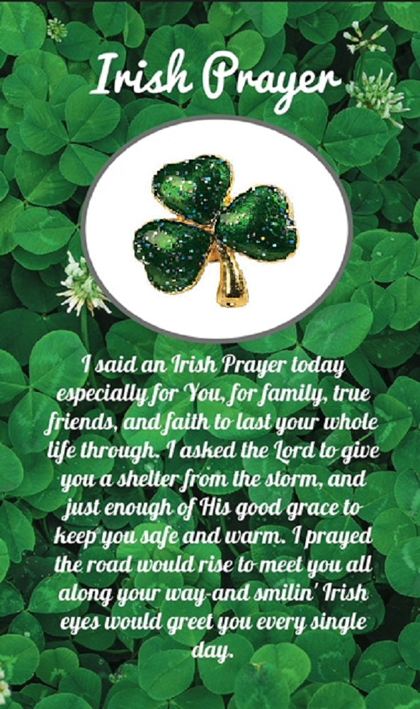 Irish Prayer Shamrock Pin On Card, Pins for Women, Irish Gifts, Jewelry, 10 Count, Bulk