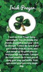 Irish Prayer Shamrock Pin On Card for Women (10 Count)