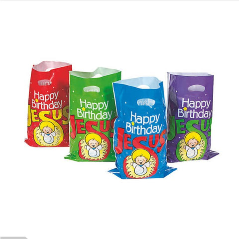 "50 Bulk Plastic ""Happy Birthday Jesus"" Goody Bags"