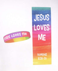 Jesus Loves Me Youth Bracelets With Bookmarks Christian Party Favors for Kids (10 Sets)