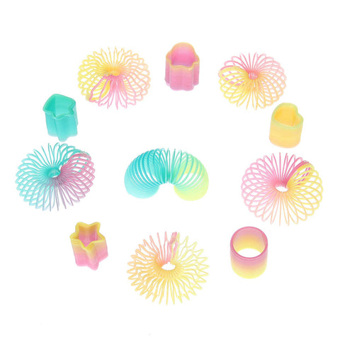 50 Assorted Miniature Rainbow Spring Slinky Toy - Multiple Shapes - Perfect Size for Kids - Bright Colors and Durable Designs - Awesome As Birthday Party Favors, Piñata Fillers, and Stocking Stuffers