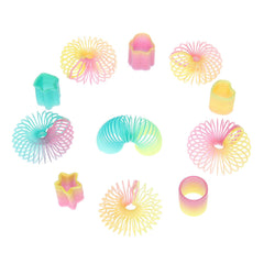 50 Assorted Miniature Rainbow Spring Slinky Toys