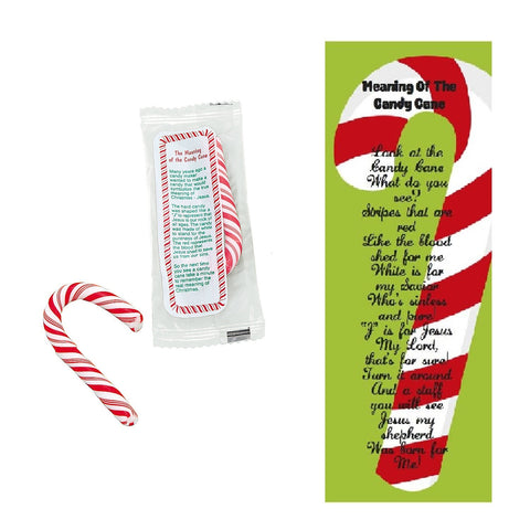 The Meaning of the Candy Cane Mini Candy Canes With Bookmarks (40 Pieces)