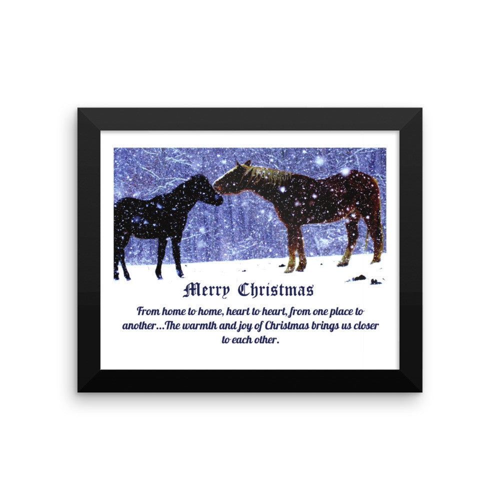 Merry Christmas Horses In Snow Framed Poster