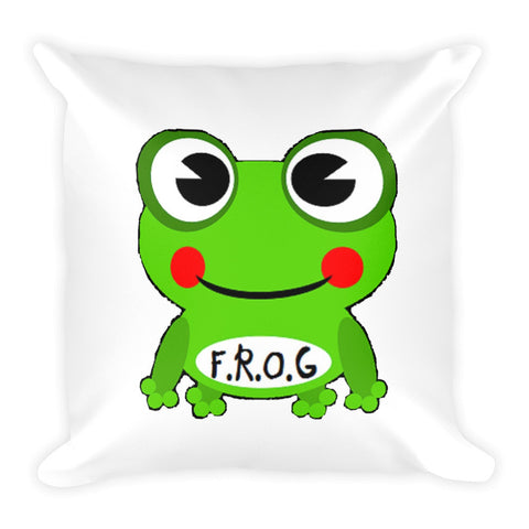 Cute Cartoon Frog Fully Rely On God Pillow