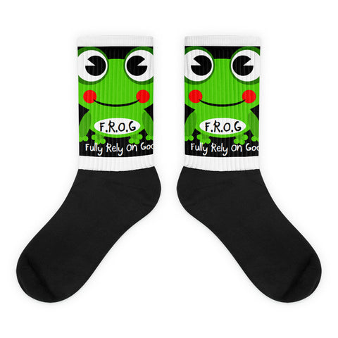 Black foot Fully Rely On God Frog Socks