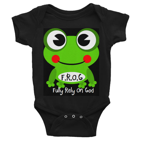 Black Fully Rely On God Frog Infant short sleeve one-piece