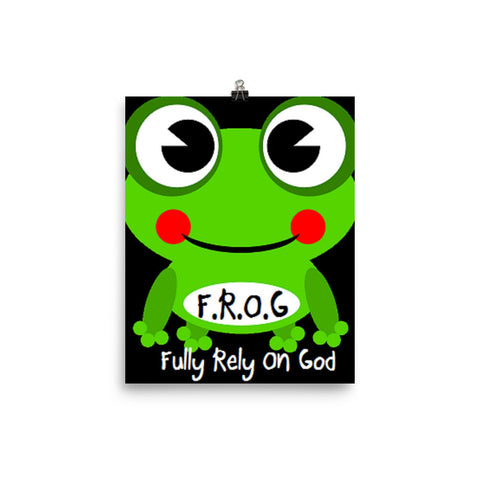 Fully Rely On God Frog Photo paper poster