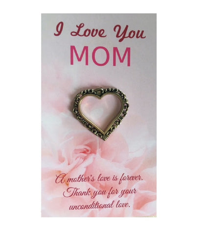 I Love You Mom Pink Mother's Day Cards With Heart Pins - 10 Pack