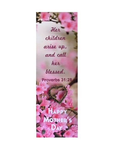 Pink Flowers Happy Mother's Day Bookmark With Heart Pin - 1 Pack