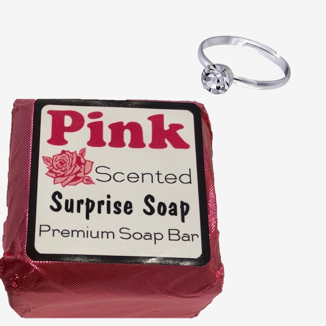 Mystery Soap Rose Scent Luxury Bath Bar with Surprise Faux Silver Diamond Ring Inside