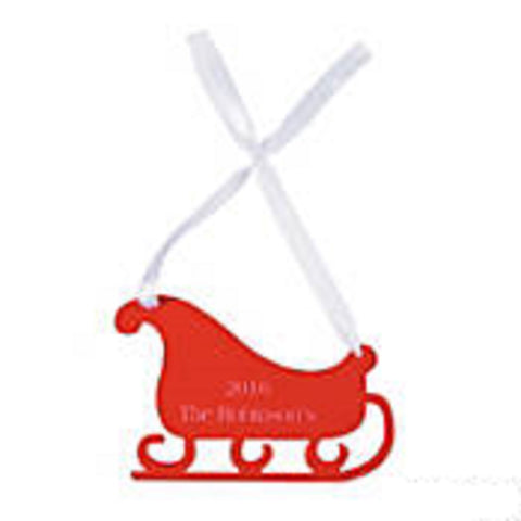Personalized Red Sleigh Christmas Ornament