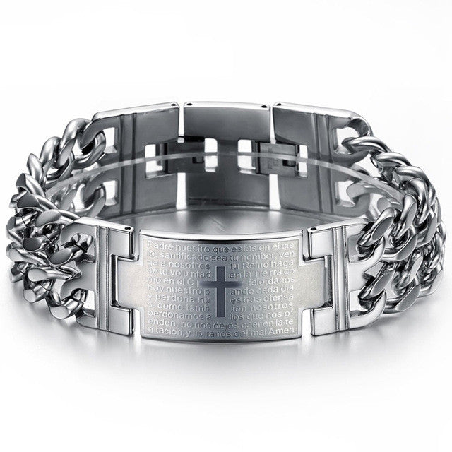 MOZO FASHION Man Punk Jewelry Bible Cross  Charm Bracelets Rock Men Hand Bracelet Adjustable MGS620
