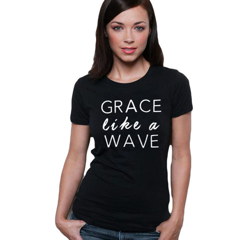 Grace Like A Wave Women Christian Graphic Tees
