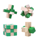4pcs Wooden Kongming Lock IQ Brain Teaser 3D Wooden Interlocking Game Toy for Adults Kids