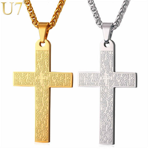 Bible Verse Gold Cross Necklace Pendant & Chain For Men