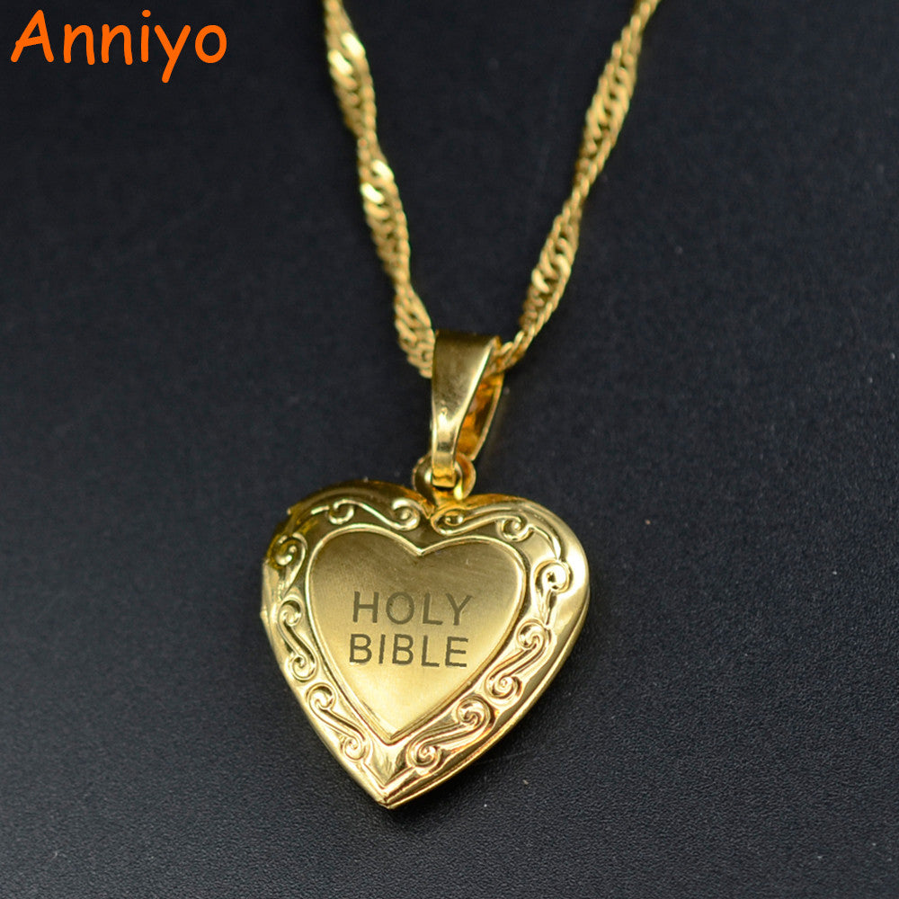 Women's Trendy Fashion Gold Necklace Anniyo Heart Holy Bible Box Necklaces
