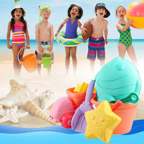 Kids Outdoor Beach Set Bucket With Molds 13 Pieces