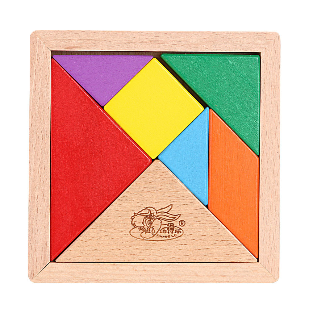 Baby Tangram Wooden Toys Brain Teaser Puzzle Toys Tetris Game Jigsaw Board Educational Toy for Kids