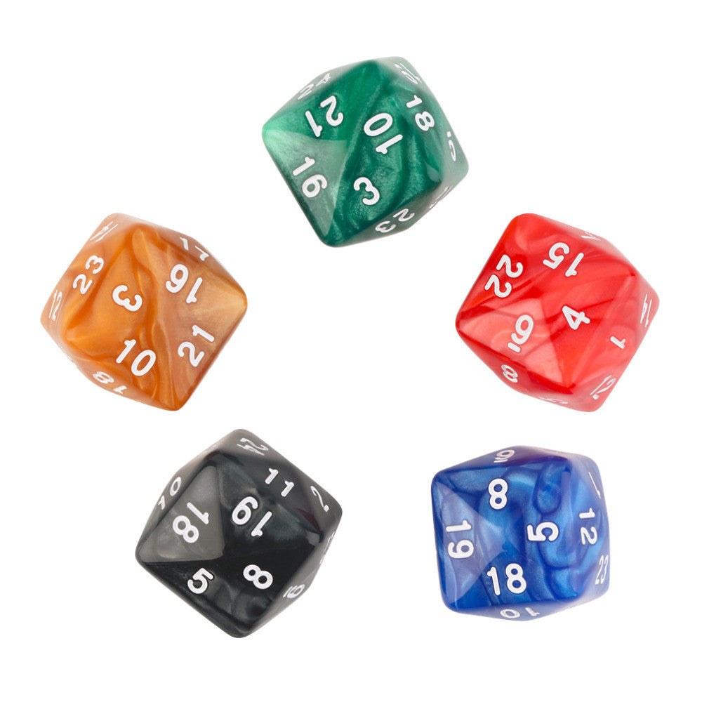 5pcs/Set of D24 22mm 24-Sided Board Game Playing Educational Dices New