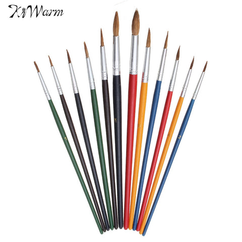 12 Piece Set Colorful Wool Paint Brush Set Watercolor