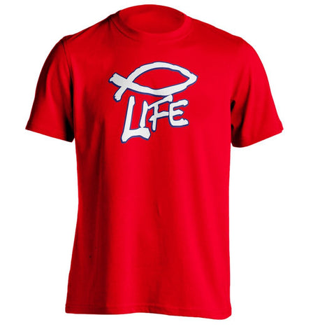 Christian Life - Fish Symbol Mens Custom T Shirt For Men