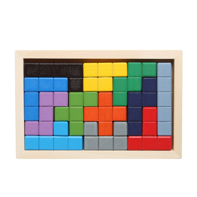 Wooden Tetris Game Board Tangram Jigsaw Fun Puzzle