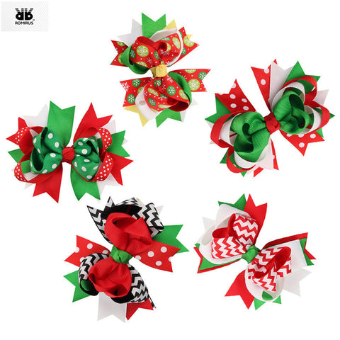 5 Piece Baby Christmas Bowknot Hairpins Ornaments Hair Clips