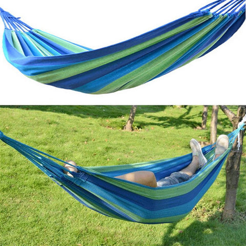 Portable Nylon Hammock Bed Outdoor Swing Canvas Stripe Hang Sleeping Bed Hammock