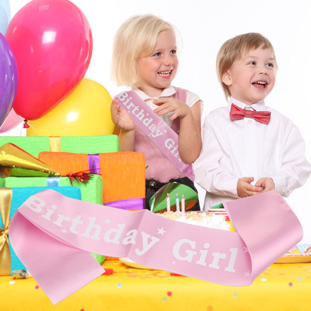 Pink Birthday Girl Party Sash