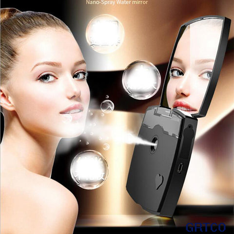 Mini Rechargeable Makeup Mirror Nano Mist Sprayer Facial Humidifier