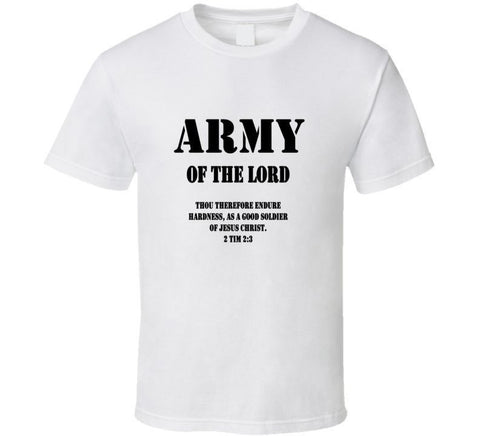 Gildan Army of the Lord Christian Jesus Christ The Lord White tee men t shirt