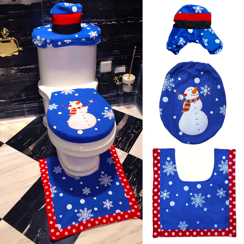 3 Piece Blue Snowman Toilet Seat Cover Rug Bathroom Mat Set
