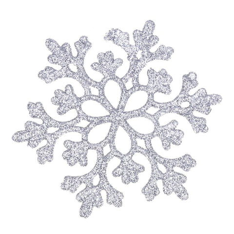 24pcs Snowflakes Christmas Decor 10cm Plastic Glitter Tree Ornaments