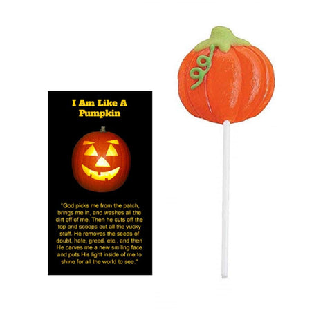 I Am Like a Pumpkin Halloween Pocket Cards with Pumpkin Lollipops (Pack of 12)