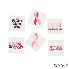12 DOZEN (144) PINK RIBBON Sassy TATTOOS - Fundraising - WALK RUN Events FAVORS- BREAST Cancer Awareness Give-aways RELAY FOR LIFE